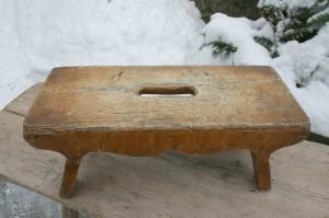 Lille fin skammel / malskammel ca. 40x17x16,5 cm. antikke små møbler