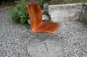 Arne Jacobsen Oxford stol i lyst patineret læder, lavet hos Fritz Hansen.