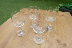 4 stk. ballong glas til rødvin ca. 14 cm.