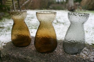 3 fine hyacintglas fra Fyens/Kastrup glasværk, ca. 14,5 cm. høje.