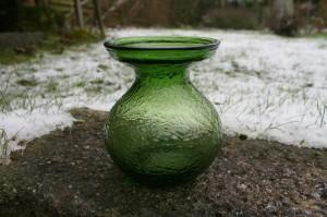 Ældre hyacintglas grønt fra Fyens glasværk, ca. 12 cm. højt.