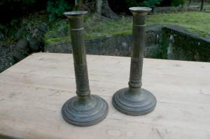 Et par høje lysestager med rigtig fin patina, har været forsølvet, ca. 24 cm høje.