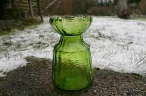 Fint hyacintglas i lys grønt fra Finland, ca. 14,5 cm højt.