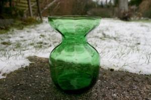 Fint grønt hyacintglas fra Holmegård, ca. 12,6 cm højt.