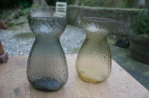 2 flade hyazint glas fra fyn/kastrup, ca. 14,5 cm.