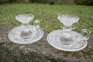 2 klare glas kammerstager i presset glas fra fyens glasværk.