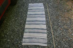 Kludetæppe nr.304, ca. 175x58 cm. Gamle brugte svenske kludetæpper