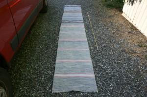 Kludetæppe nr. 306, ca. 375x60 cm. Gamle brugte svenske kludetæpper