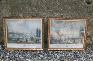 2 lithografier af Hamborg før og efter branden i 1842, ca. 37x30 cm.