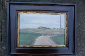 A.W. Larsen olie på læred, mål uden ramme, mål ca. 24x16 cm.