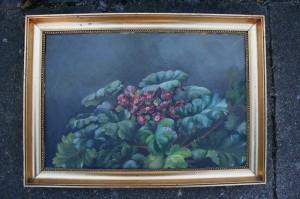 Blomster maleri u/ signatur olie på læred, mål uden ramme, ca. 39x25,5 cm.