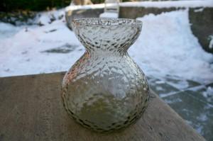 Ravgult rundt hyacintglas fra Fyens / Kastrups glasværk