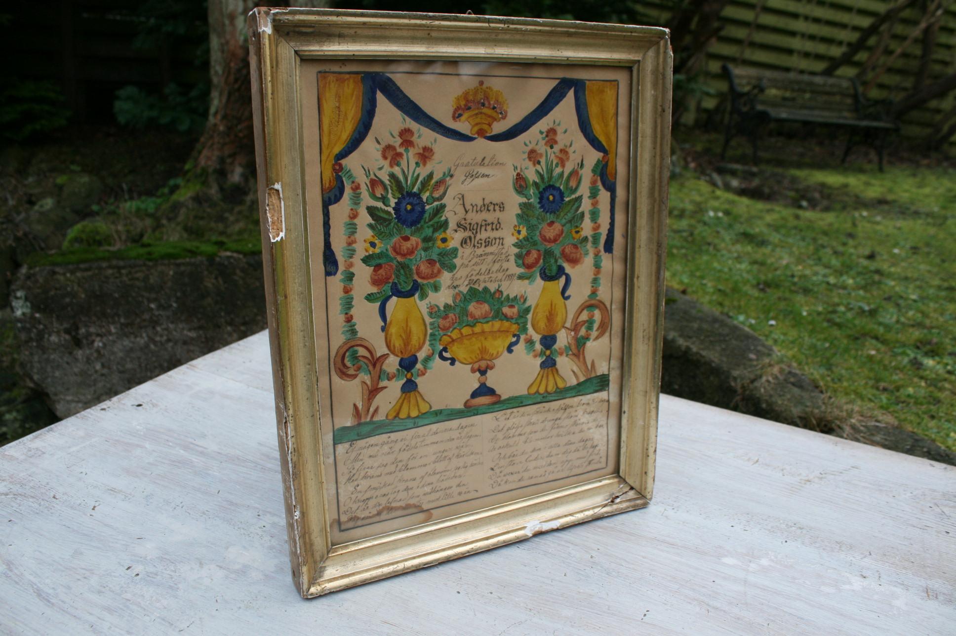 Gratulations brev i sølvramme fra 1800 tallet.
