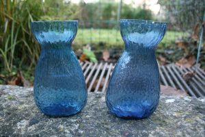 Aquablå hyacintglas fra Fyns / Kastrup glasværk, ca. 14,5 cm højt.