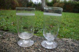 2 antikke toddy glas, ca. 13 cm og 13,2 cm høje.