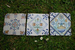Antikke Hollandske farvet fliser fra 1600 og 1700 tallet.