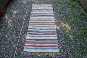 Kludetæppe nr. 347, ca. 175x68 cm. svenske kludetæpperi flere længder og farver.