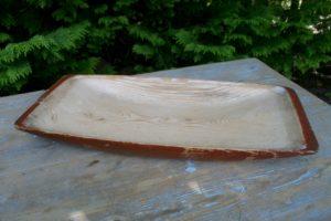 Gammelt træfad også kalder mælkefad, ca. 58x26 cm.