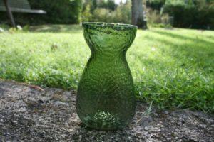 Gammelt grønt hyacintglas fra Fyens glasværk.