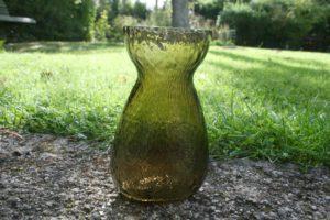 Gammelt ravgult hyacint glas fra Fyens glasværk.