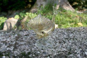 Fint lille antikt saltkar i glas med guld fra Italien.