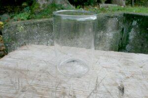 Lille antikt sylteglas , ca. 10 i diameter og 14 cm højt.