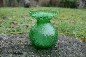 Hyacintglas grønt fra Fyns glasværk 1924, ca. 11,8 cm højt og 8,8 cm. i diameter.