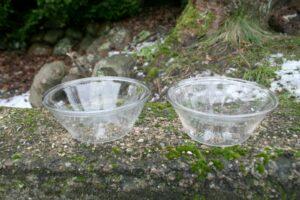2 klare tykmælkskåle antikke, ca. 14,5 cm i diameter.