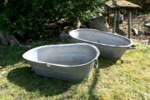Zink badekar børn med håndtag, ca. 80x45x22 cm