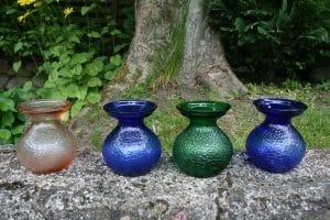 Fine gamle farvet hyacintglas fra Fyns glasværk.