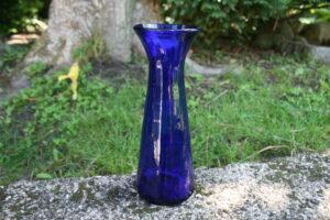Antikt hyacintglas blå blæst up, ca. 21,5 cm højt.