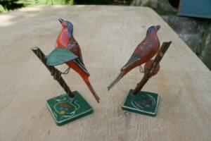 Antikke markeds fugle bemalet fra sverige, ca. 10 cm høje.